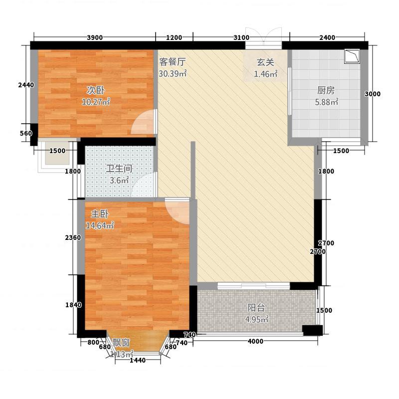 皇冠国际8.00㎡户型2室