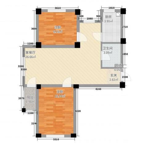 凯隆・城市广场2室1厅1卫1厨80.00㎡户型图