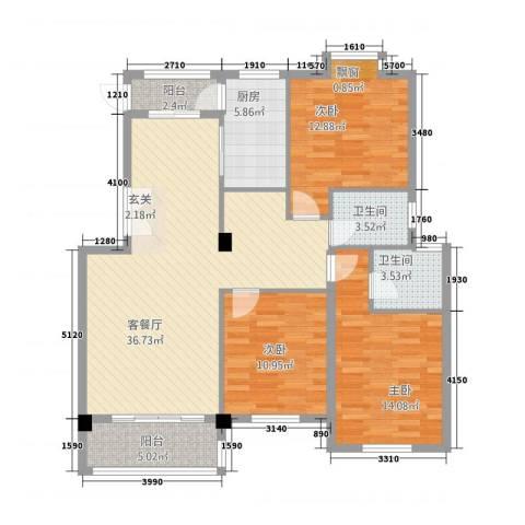 凯旋花园3室1厅2卫1厨107.20㎡户型图