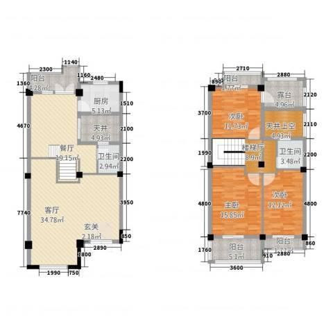 三江锦绣江南3室2厅2卫1厨165.00㎡户型图