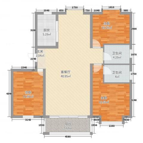 凯旋花园3室1厅2卫1厨108.80㎡户型图