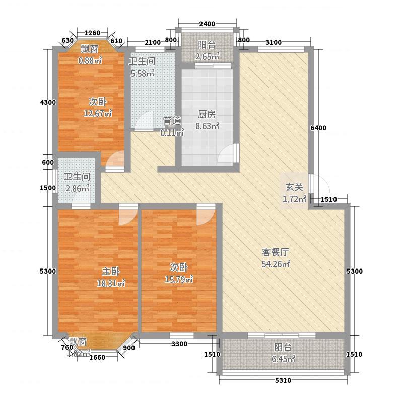 凯旋花园13.00㎡户型3室2厅2卫1厨