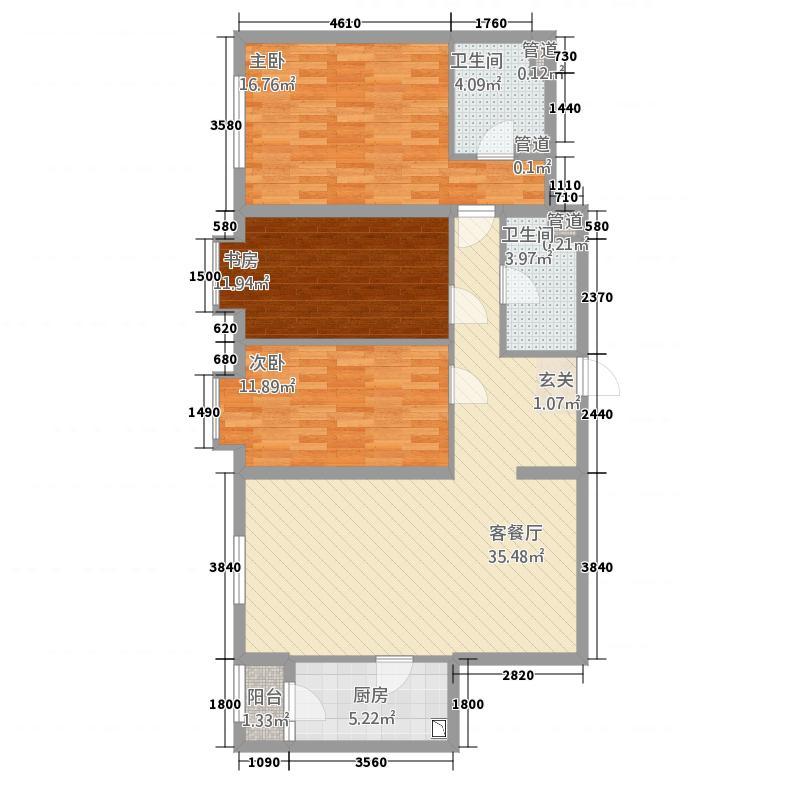都市心海岸128.80㎡二期C1户型3室2厅2卫1厨