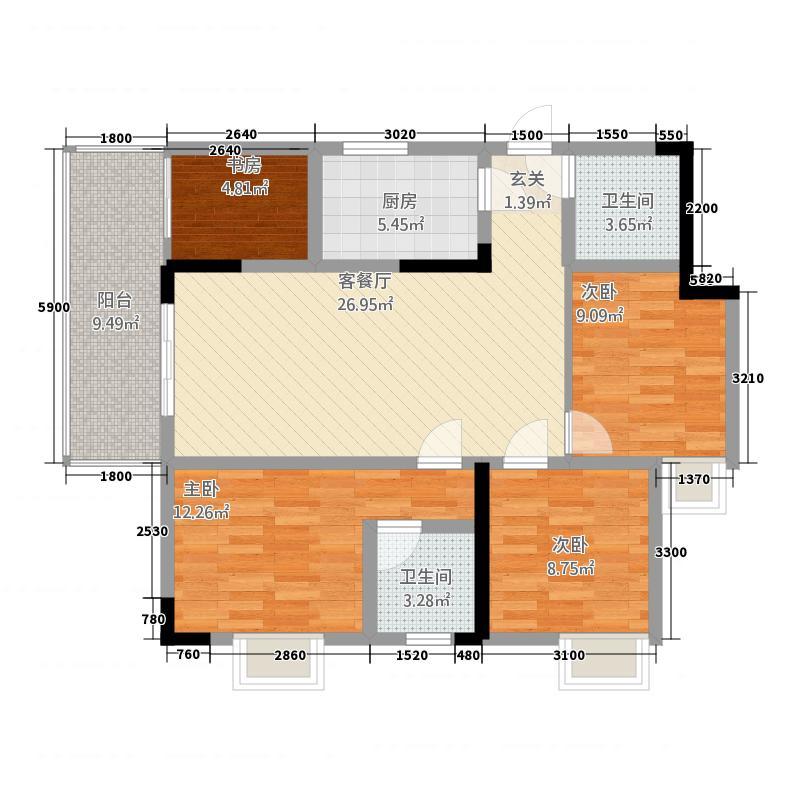 川峰龙汇雅园111.26㎡F1户型4室2厅2卫1厨