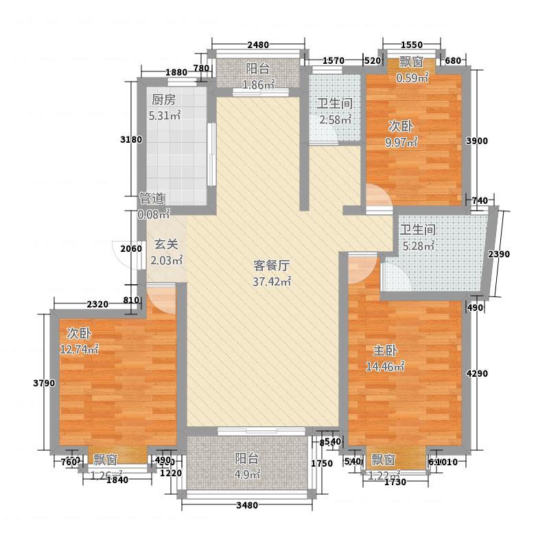 福星新城136.00㎡经典户型3室2厅2卫1厨