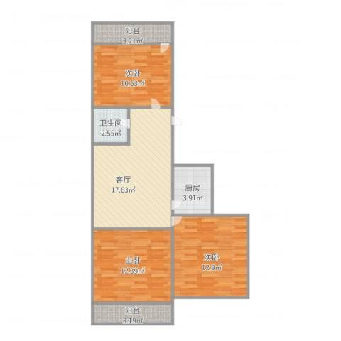 纬北小区3室1厅1卫1厨90.00㎡户型图