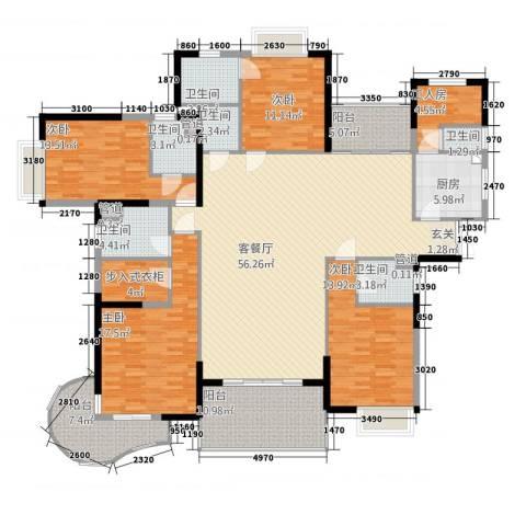 星河传说聚星岛A区4室1厅6卫1厨169.03㎡户型图