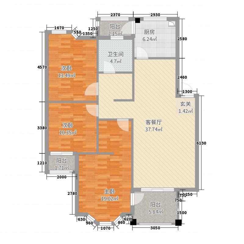 九里象湖城8.00㎡户型3室