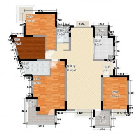 金河国际华庭4室1厅2卫1厨175.00㎡户型图