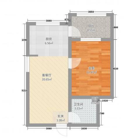 哈公馆1室1厅1卫0厨58.00㎡户型图