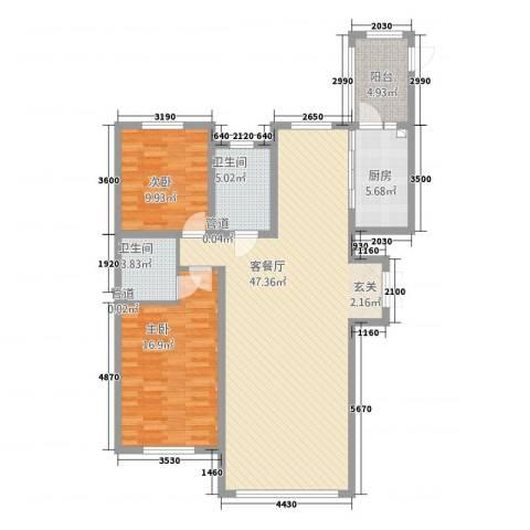 哈公馆2室1厅2卫1厨133.00㎡户型图