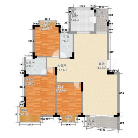鸿越瑞�花园3室1厅2卫1厨124.00㎡户型图