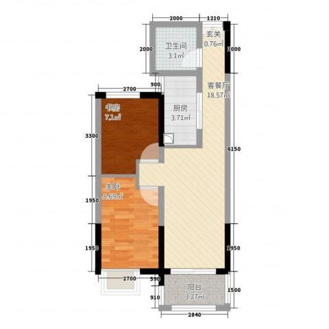 华仪香榭华庭2室1厅1卫1厨44.44㎡户型图