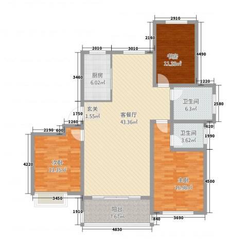 世昌华庭3室1厅2卫1厨154.00㎡户型图