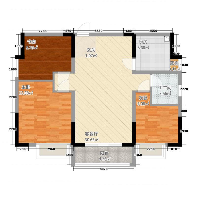 百合苑3217.66㎡G户型3室2厅1卫1厨