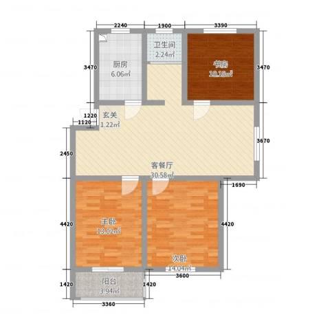华夏名都3室1厅1卫1厨115.00㎡户型图