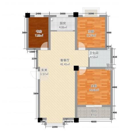 星河城3室1厅1卫1厨127.00㎡户型图