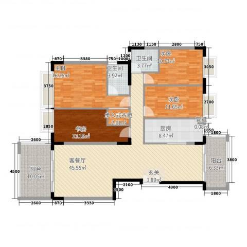 合正锦园4室1厅2卫1厨185.00㎡户型图