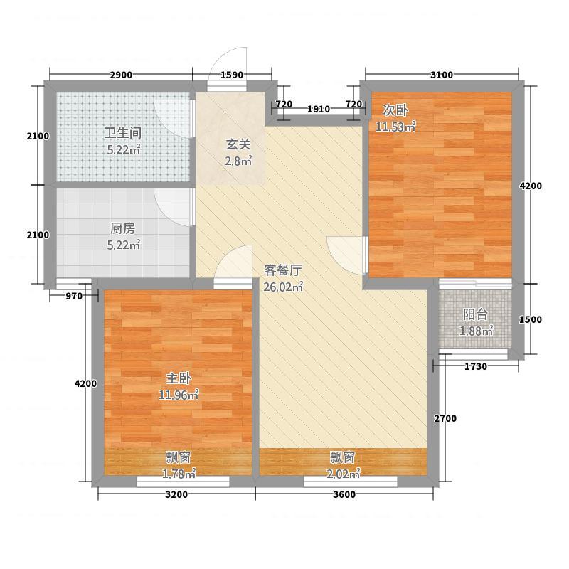 龙腾金荷苑86.00㎡户型3室