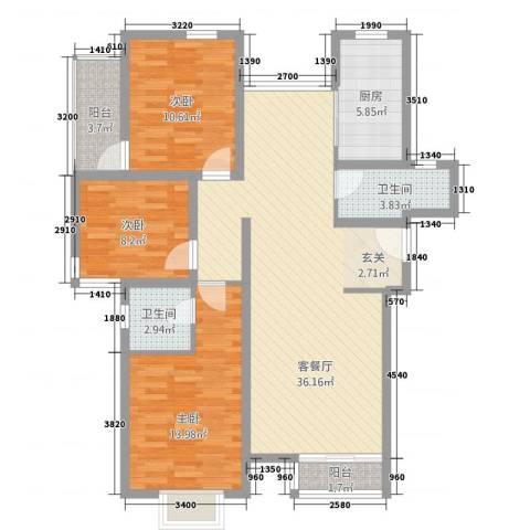 图强路2号3室1厅2卫1厨125.00㎡户型图