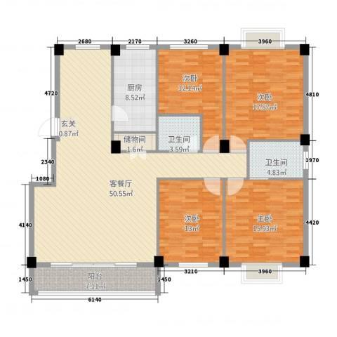 都市豪庭4室1厅2卫1厨187.00㎡户型图