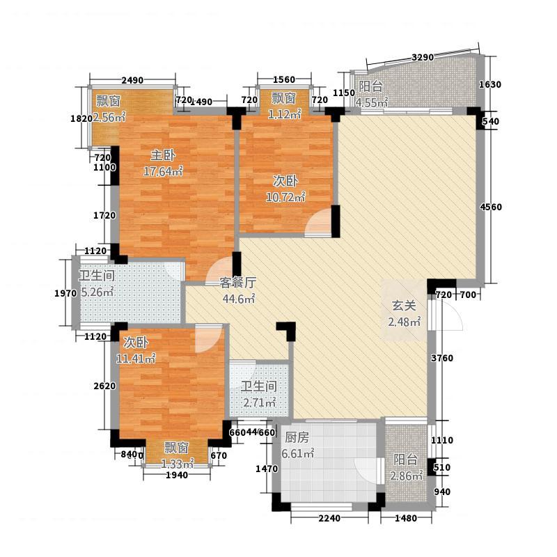 鸿越瑞�花园12.21㎡木棉轩B7栋户型3室2厅2卫1厨