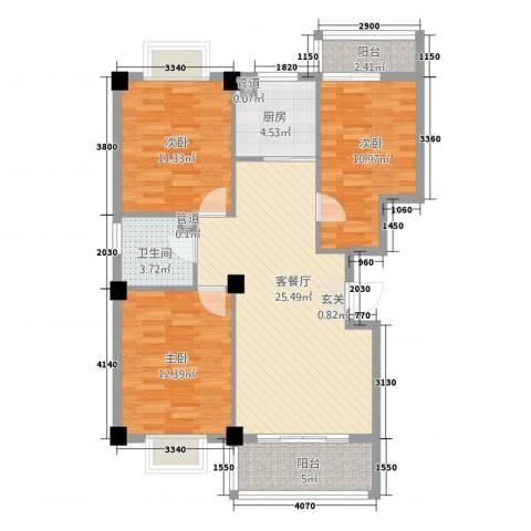 都市豪庭3室1厅1卫1厨108.00㎡户型图