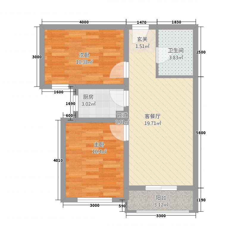 天锐益城77.70㎡6号楼J2户型2室2厅1卫1厨