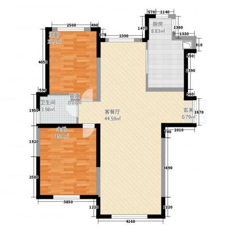 万顺空港融和广场雅仕阁公寓2室1厅1卫1厨119.00㎡户型图