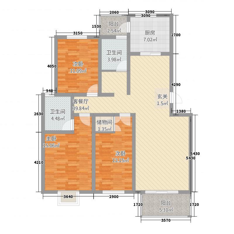 天伦布鲁斯148.00㎡小区户型3室