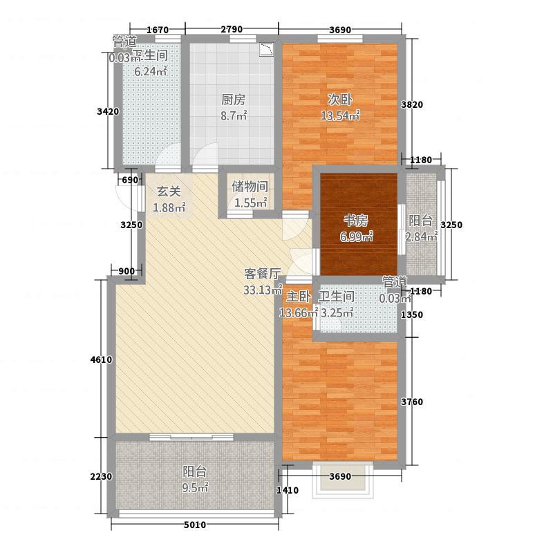 福麟海景丽园145.00㎡7#、11#、12#标准层F户型3室2厅2卫1厨
