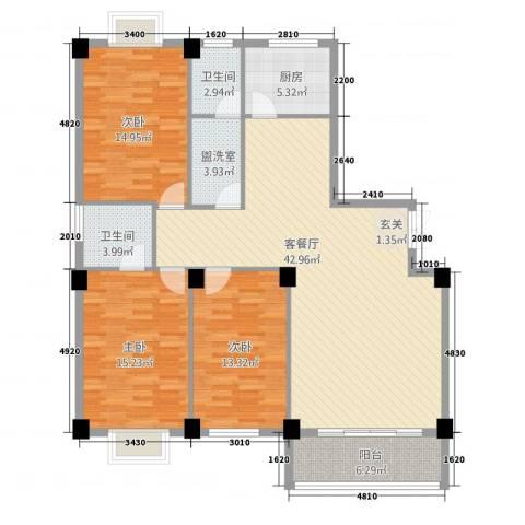 都市豪庭3室2厅2卫1厨145.00㎡户型图