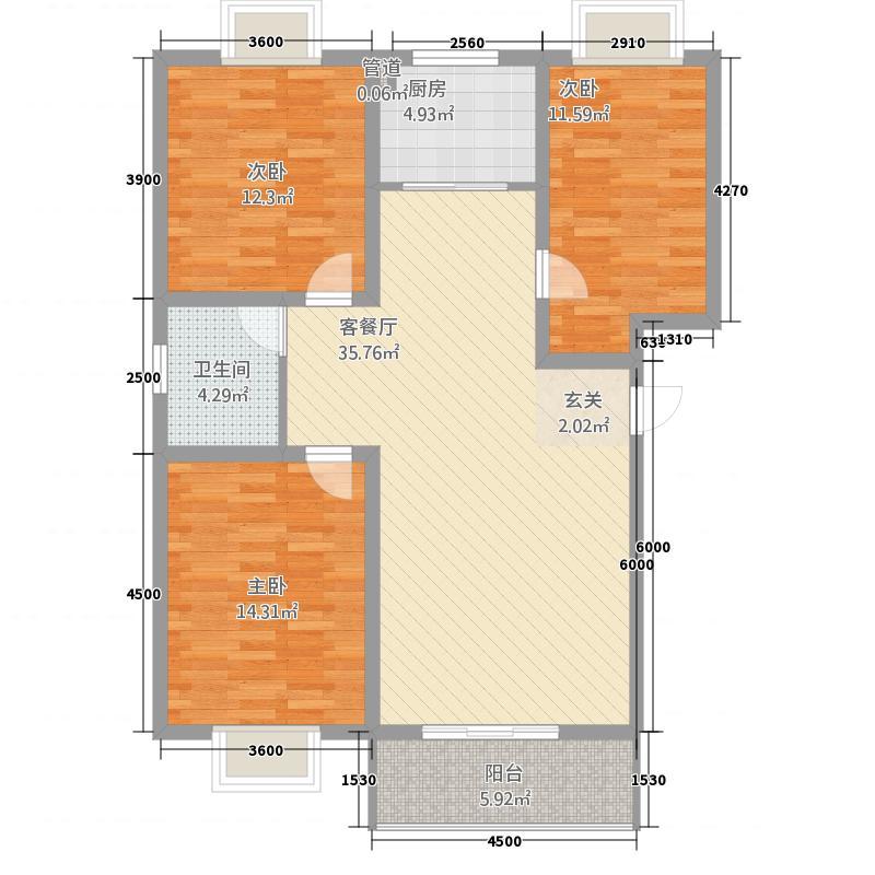 丰林花园116.37㎡B11户型3室2厅1卫1厨