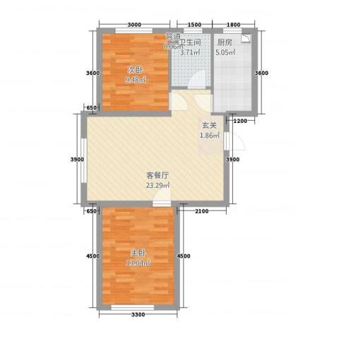 其仕郡2室1厅1卫1厨83.00㎡户型图