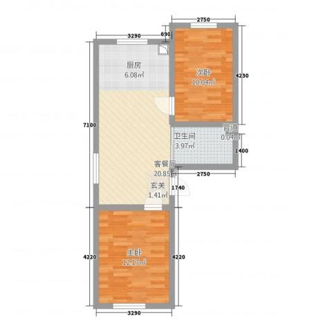 万龙北斗星城2室1厅1卫0厨68.00㎡户型图