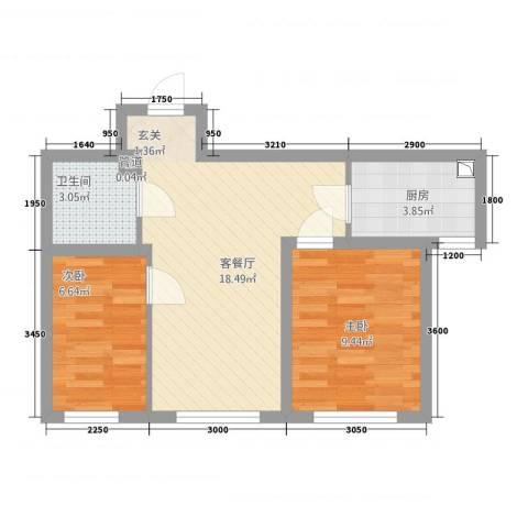 其仕郡2室1厅1卫1厨66.00㎡户型图
