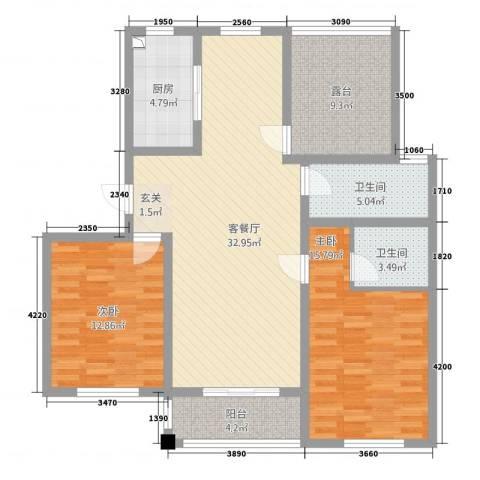 华夏名都2室1厅2卫1厨128.00㎡户型图