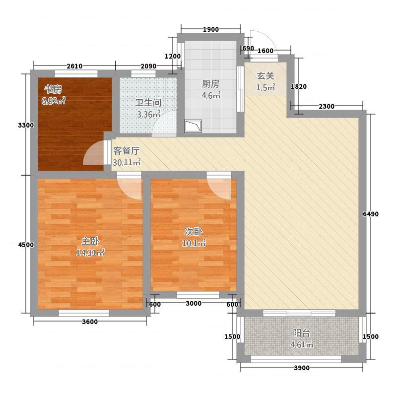 天筑广场11.20㎡D2_2+_户型3室2厅1卫1厨