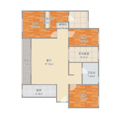 万科珠宾花园—4栋23023室1厅1卫1厨169.00㎡户型图