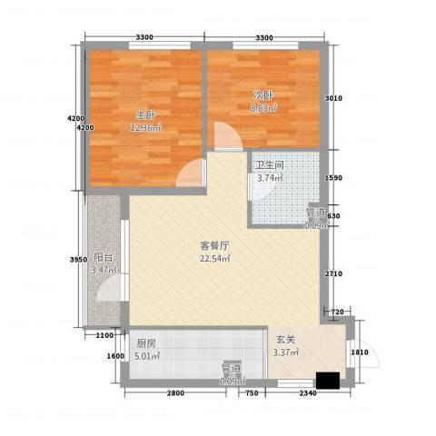 盛发花园2室1厅1卫1厨80.00㎡户型图
