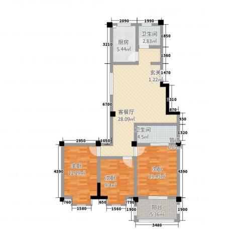 福鑫园3室1厅2卫1厨118.00㎡户型图