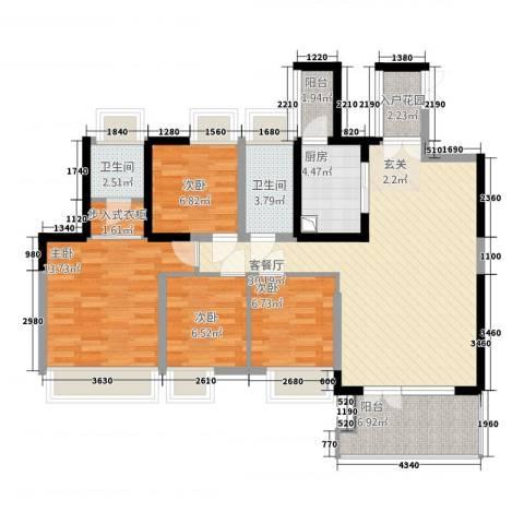 中南花园4室1厅2卫1厨128.00㎡户型图