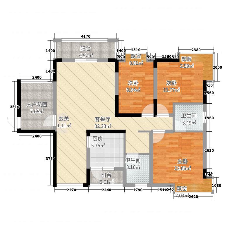 金辉家园134.00㎡户型3室