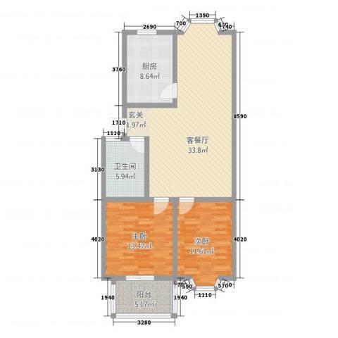 芳华苑2室1厅1卫1厨112.00㎡户型图