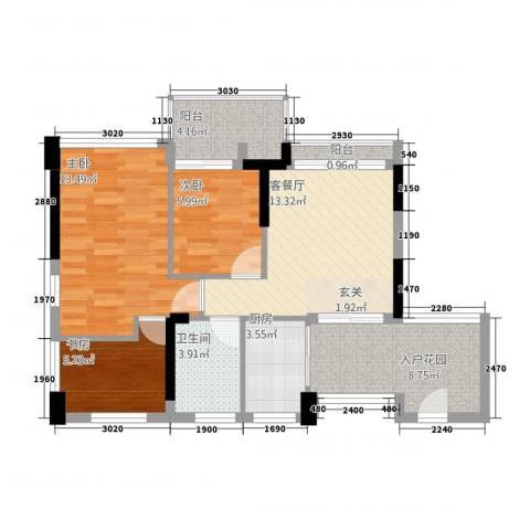 碧湖花园(龙岗)3室1厅1卫1厨86.00㎡户型图