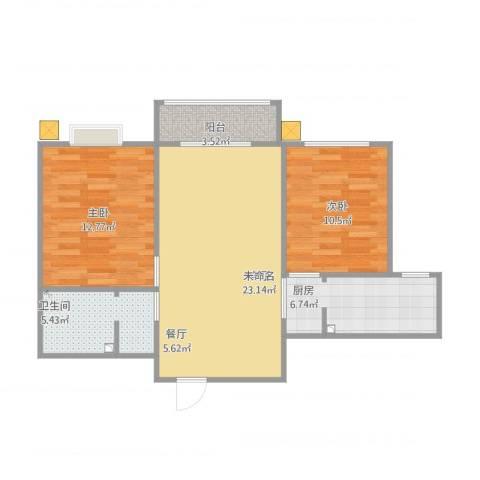 北京御园2室1厅1卫1厨87.00㎡户型图