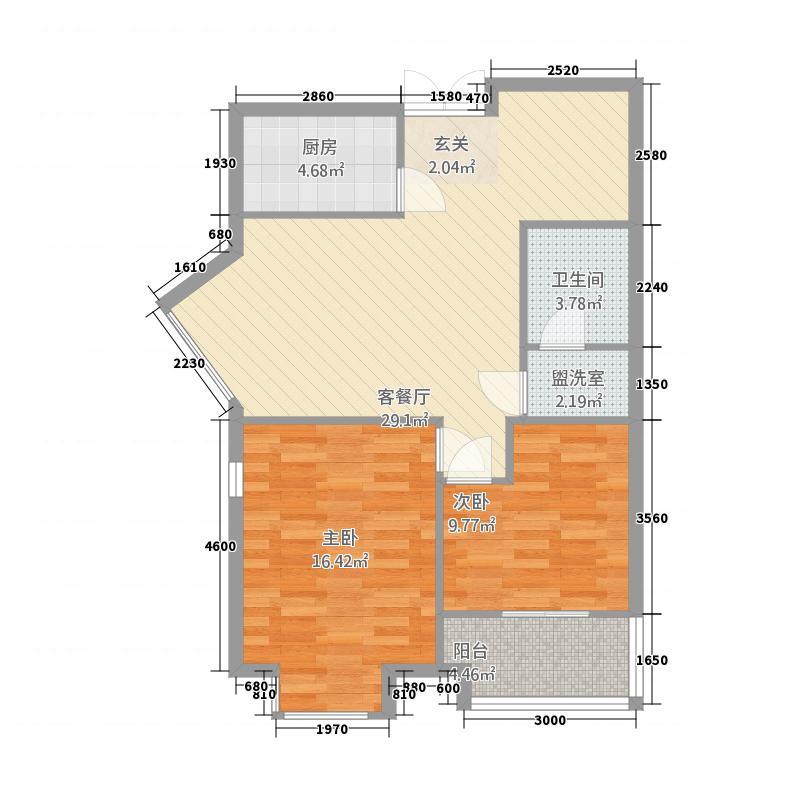 天时名苑户型2室