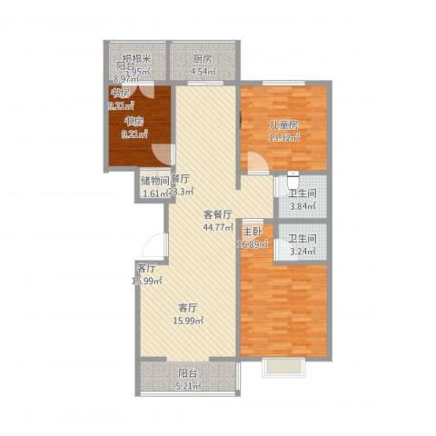阳光花园3室1厅2卫1厨142.00㎡户型图