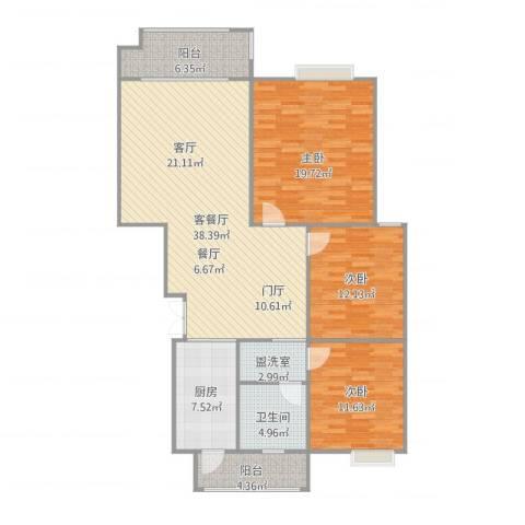 香缇豪庭3室2厅1卫1厨145.00㎡户型图