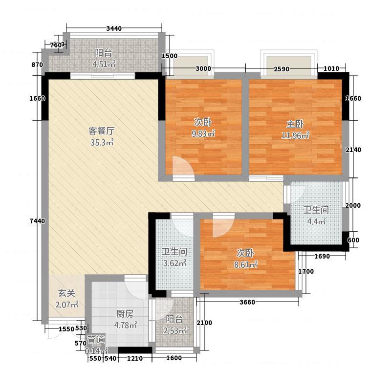 天奇港湾国际116.14㎡4#1号房户型3室2厅2卫1厨